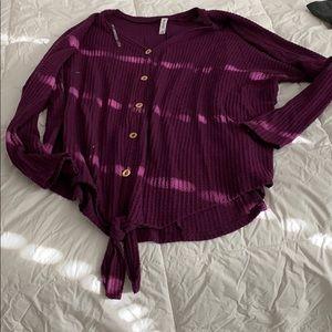 Purple waffle shirt w/knot